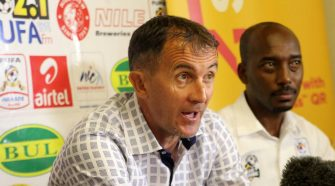 Coach Micho with FUFA Spokesperson Ahmed Marsha at Uganda Cranes Press Conference on Thursday at Lugogo
