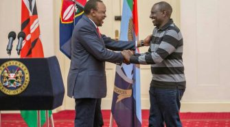 Uhuru and Ruto after the former delivered state address at State House Nairobi