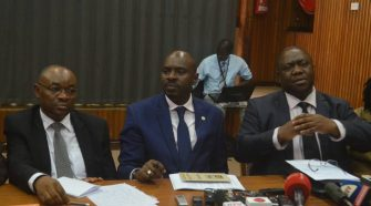 Defence Minister Mwesige addressing a presser on Tuesday flanked by other MPs