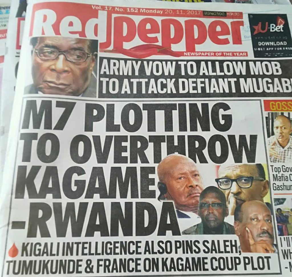 News Article Published On Monday November 20 The Which Eared Cover Page Was Led Museveni Plotting To Overthrow Ka Rwanda