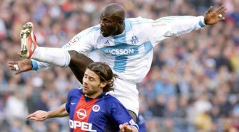 Liberia's ex-football star George Weah in one of the matches