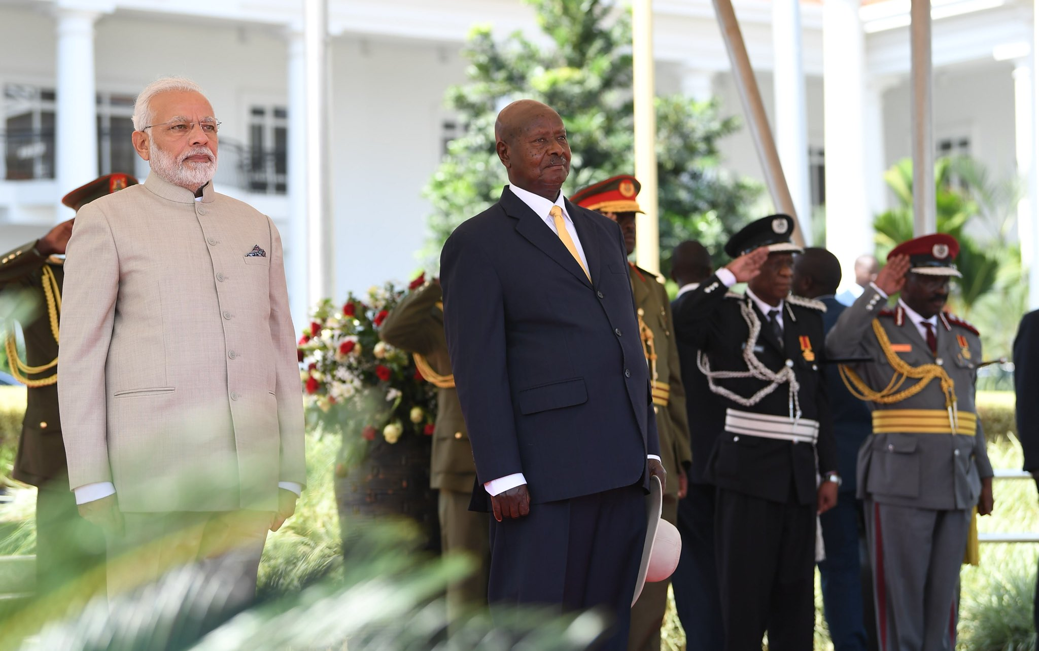 President Yoweri Museveni with Indian Prime Minister Narendra Modi at State House on Tuesday