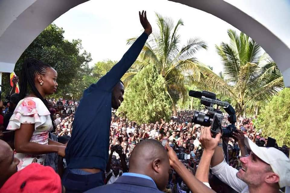 Magere erupts in jubilation as Bobi Wine arrives home
