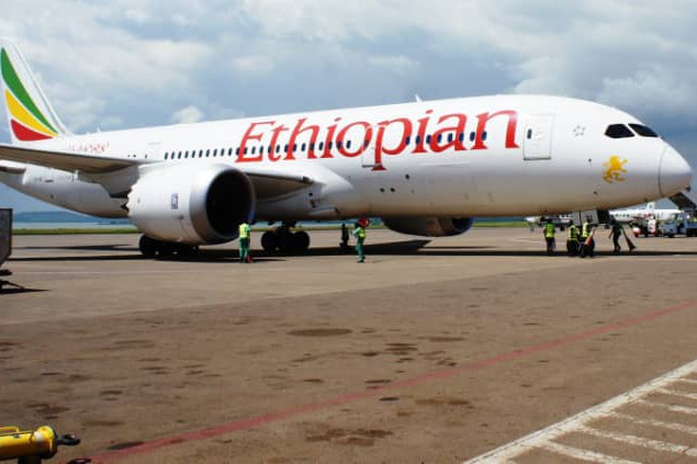 13faa4ca3e Ethiopian Airlines Boeing 737-800 after it was towed off the runway at  Entebbe Airport.