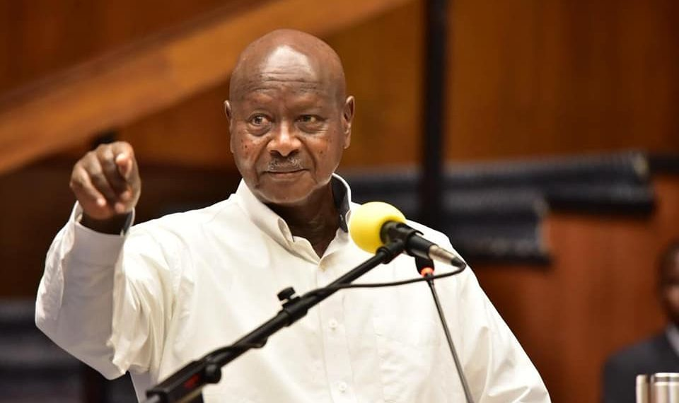 An earlier photo of President Museveni addressing the nation on COVID19